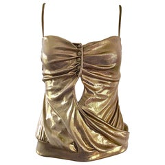 Moschino Vintage Gold Lame Sexy Cut Out Sleeveless Top Shirt, 1990s
