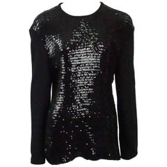 Yves Saint Laurent Black Sequin Knit Sweater - M/L - Circa 90's