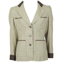 Yves Saint Laurent Earthtone Houdstooth 4 Pocket Wool Jacket - 40 - 70's