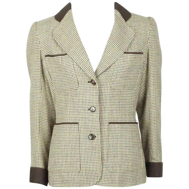 42d7901acab Yves Saint Laurent Earthtone Houdstooth 4 Pocket Wool Jacket - 40 - 70's  For Sale