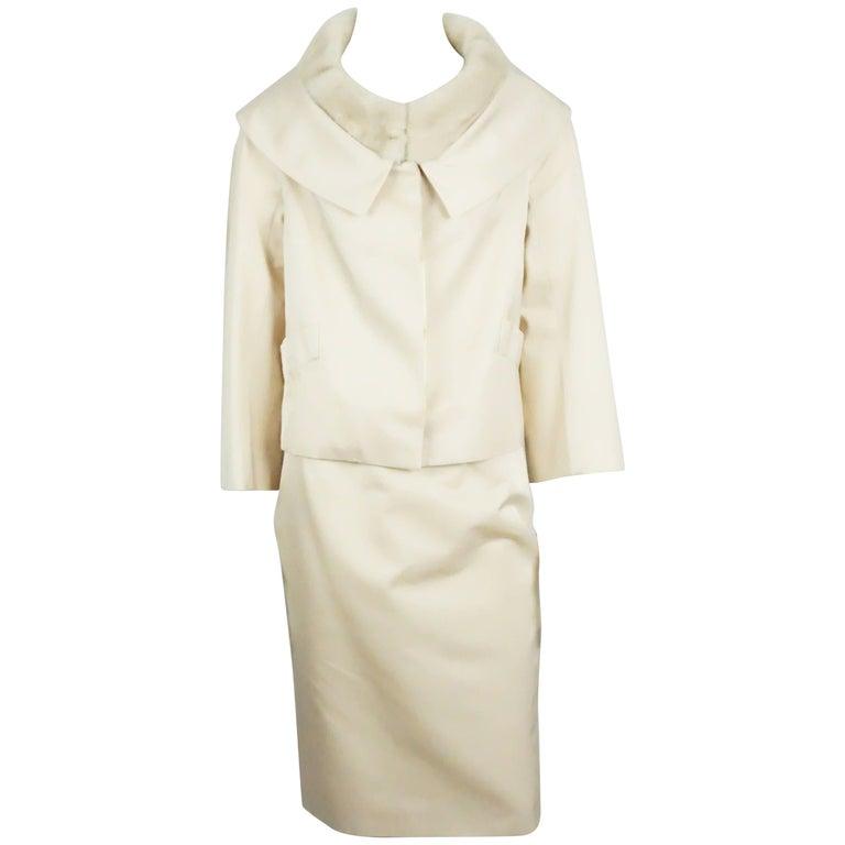Christian Dior Ecru Silk Skirt Suit with Mink Collar - 38 - NWT