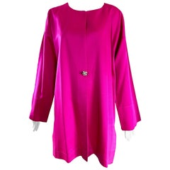 1970s Jean Muir Hot Pink Fuchsia Silk Vintage 70s Opera Swing Jacket Coat