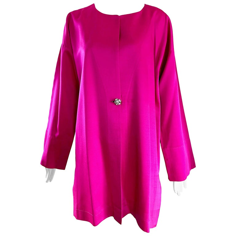 1970s Jean Muir Hot Pink Fuchsia Silk Vintage 70s Opera Swing Jacket Coat
