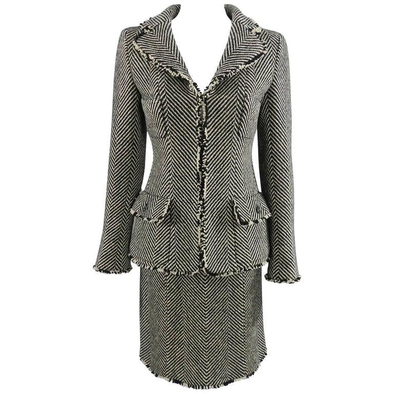 Chanel 06A Wool Herringbone Skirt Suit For Sale