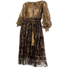 1960s Metallic Lace Dress with Fringe and Crystals.