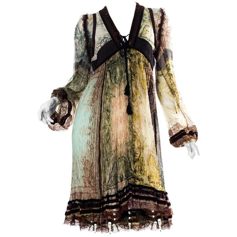Jean Paul Gaultier Chiffon & Lace Dress