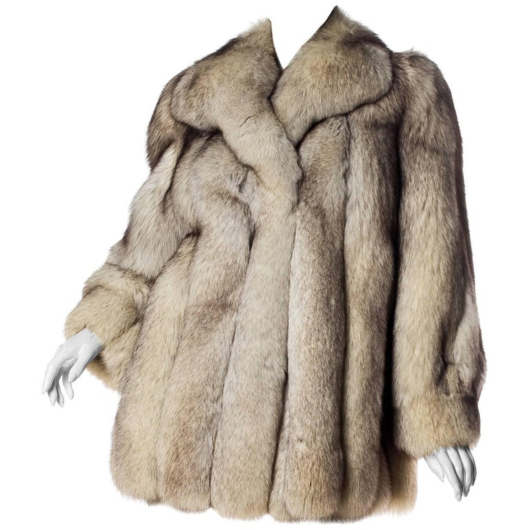 1980S Silver Fox Fur Coat For Sale