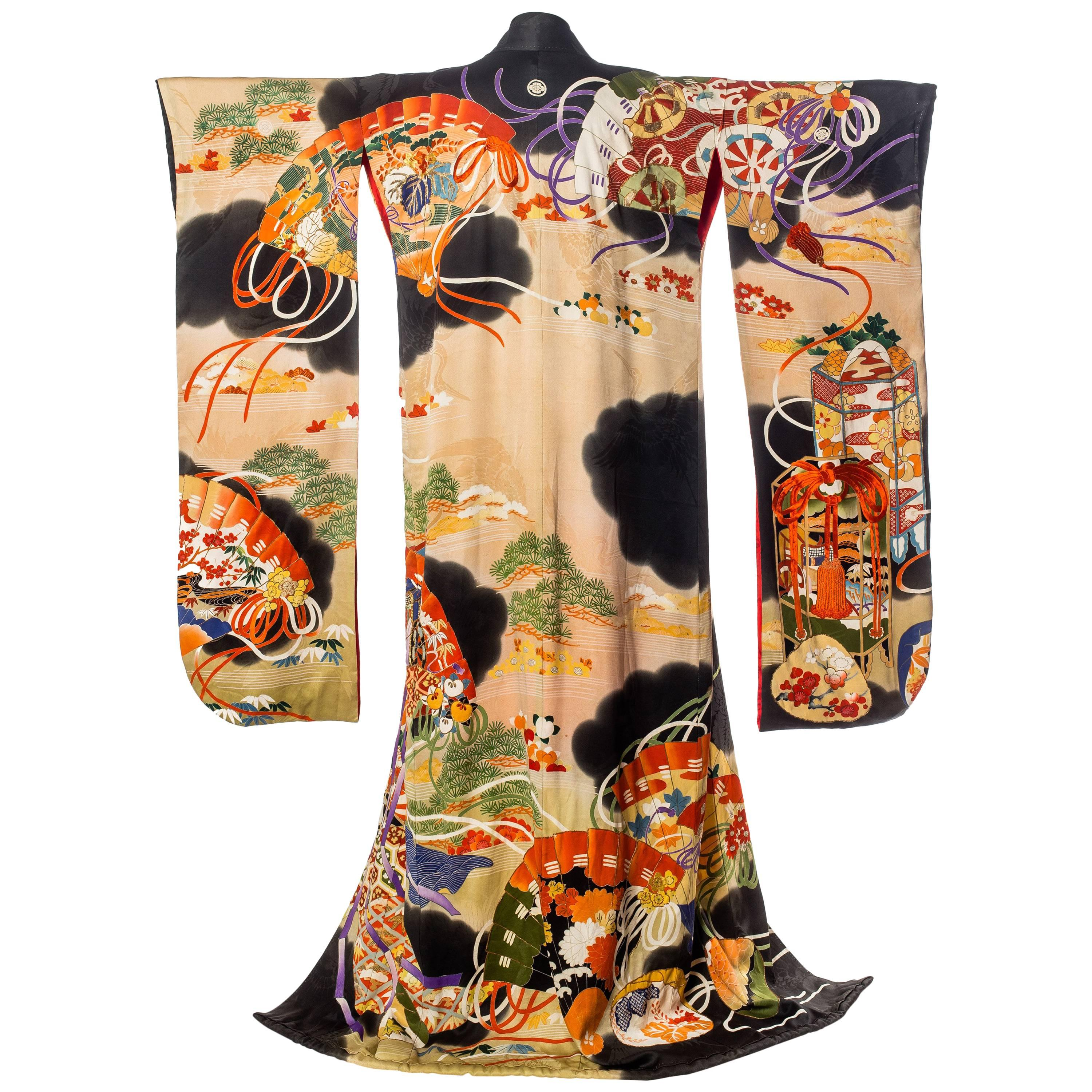 1920S Hand Painted Silk With Fan Print And Metallic Embroidery Kimono