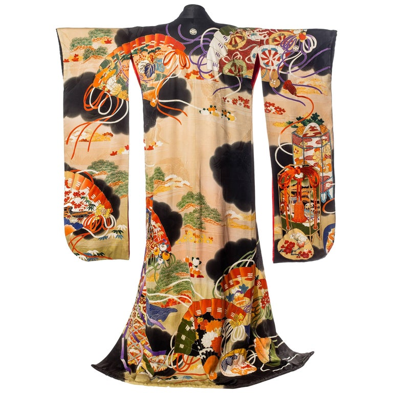 Antique Hand-Painted Japanese Kimono with Gold & Silk Embroidery