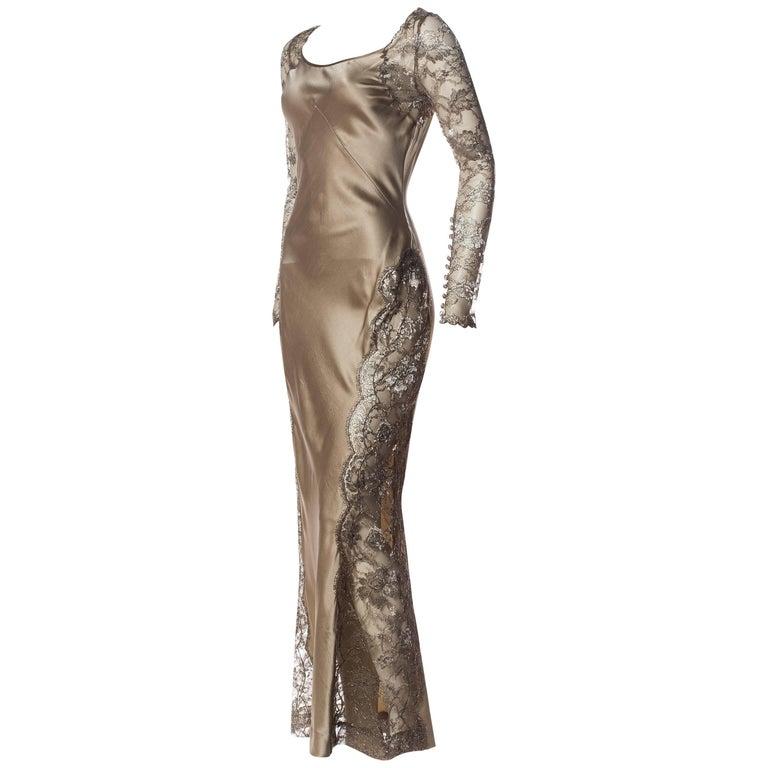 1990s Richard Tyler Bias Silk & Lace Gown