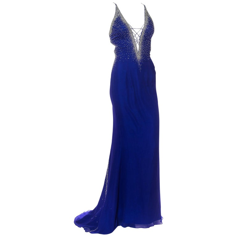 1990s Backless Versace style Beaded Chiffon Gown