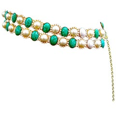 Kenneth Jay Lane Vintage Faux Pearl and Green Stone Belt, 1960s