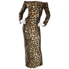 Patrick Kelly Vintage Sexy Leopard Print Off Shoulder Cheetah Dress, 1980s