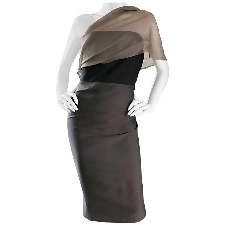 1990s Vera Wang Size 12 Taupe + Grey + Black Taffeta One Shoulder Vintage Dress