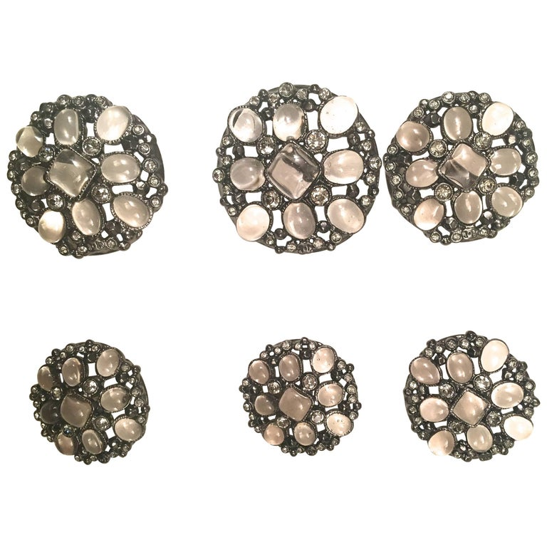 Chanel Buttons - Matching Set of 6 - Gripoix Inlay