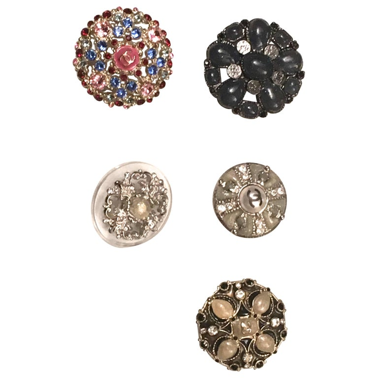 Chanel Buttons - Set of 5 Assorted - Elaborate Gripoix and Rhinestones