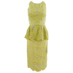 Stella McCartney Yellow Lace Peplum Cocktail Dress
