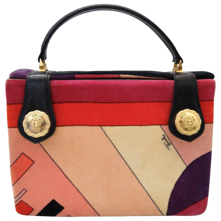 1970s Emilio Pucci Velvet Box Top Handle Bag