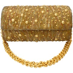 1980s Studded Gold Marble Painted Evening Bag