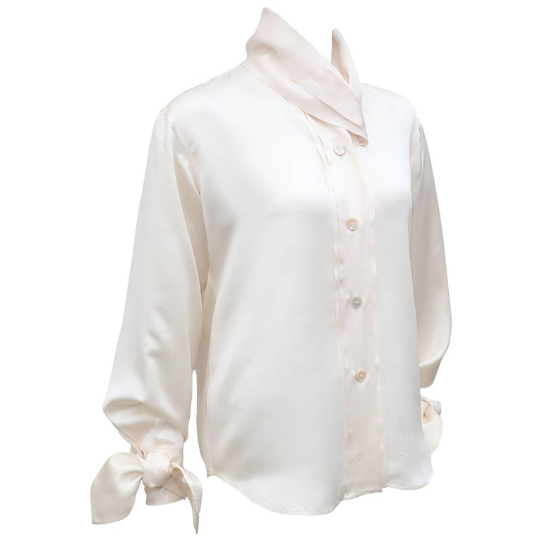 1980's Romeo Gigli Ivory Silk Blouse With Sash Cuffs