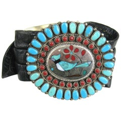 Native American Zuni Coral Turquoise Sterling Silver Concho leather Bracelet