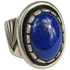 Sterling Silver Native American Lapis lazuli Shadow Box Ring
