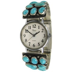 Native American Navajo Sterling Silver Turquoise Wristwatch