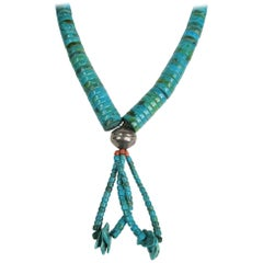 Santo Domingo Pueblo Heishe Turquoise Shell Coral Necklace Jacla Sterling Silver