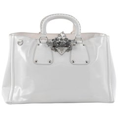 Prada Crystal Double Handle Convertible Shopping Tote Spazzolato Fume Large