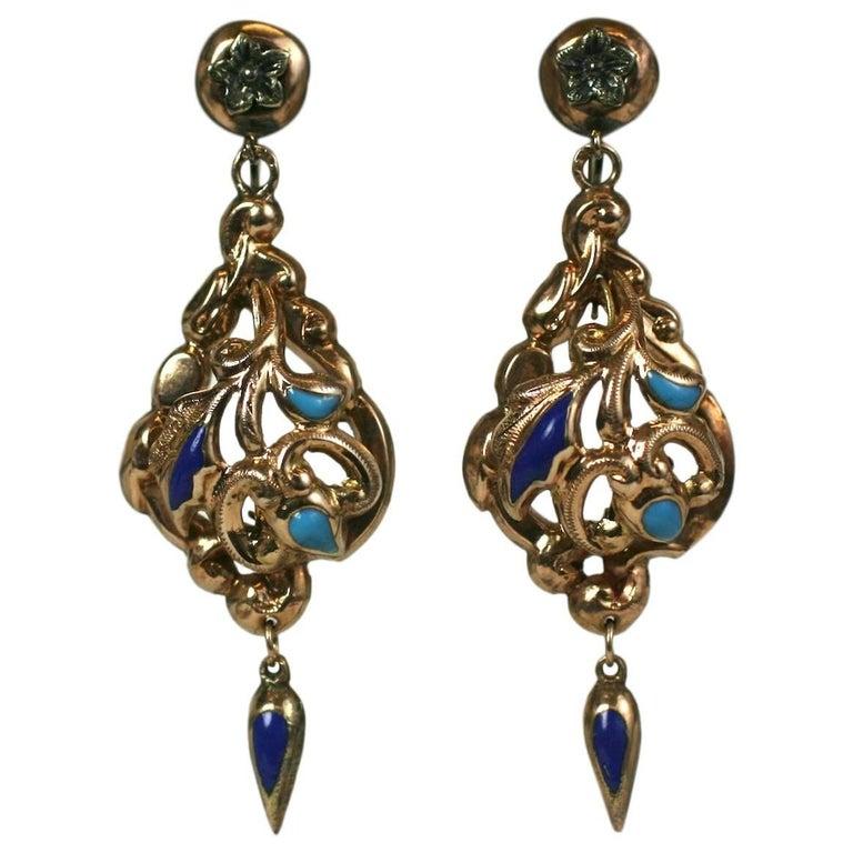 Victorian Enamel Earrings For