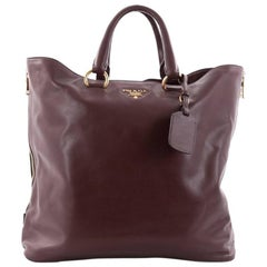 Prada Side Zip Convertible Shopper Tote Soft Calfskin Large