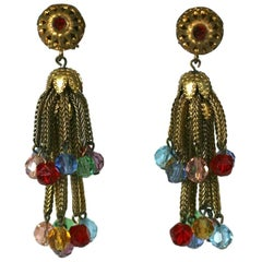 Louis Rousselet Gilt Tassel and Crystal Earclips