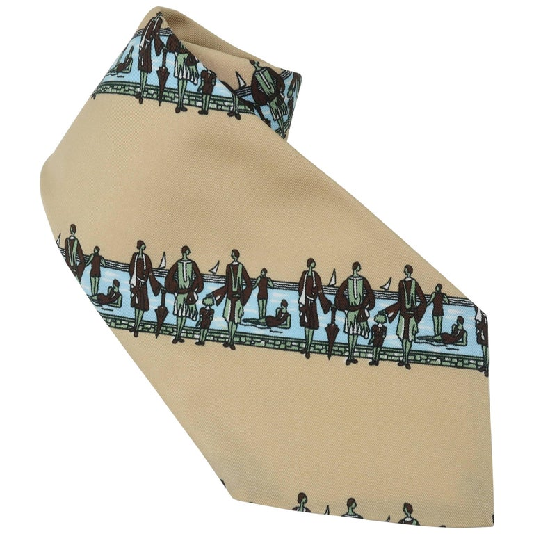 Circa 1970 Italian Art Deco Revival Men's Wide Necktie For Sale