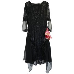 Late Teens, Early 1920s Heavily Beaded & Sequin Silk Chiffon Dress