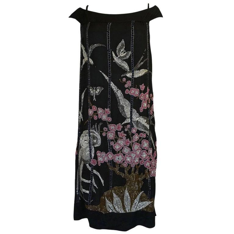 1920s Beaded Flapper Dress w Elaborate Tree & Bird Design