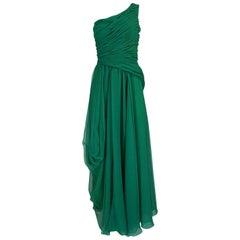 c.1984 Arnold Scaasi One Shoulder Green Draped Chiffon Dress