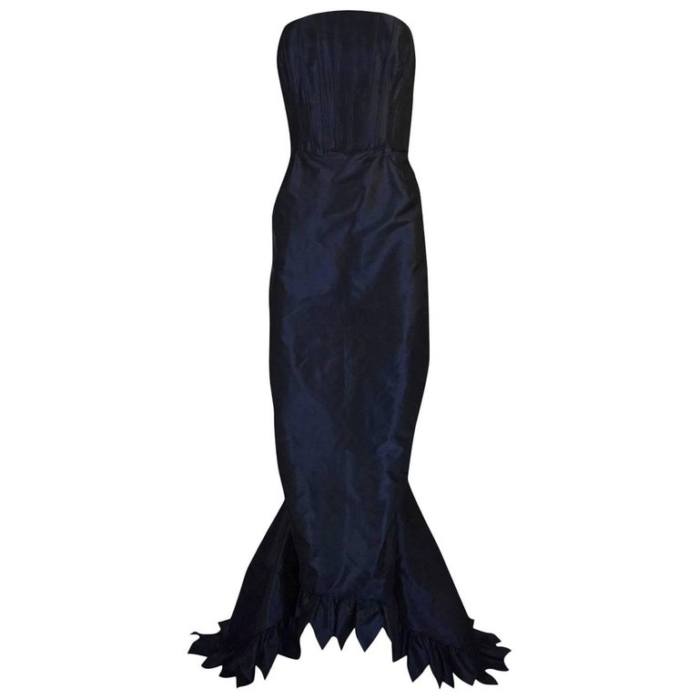 c1995 Oscar de la Renta Unusual Deep Purple Silk Taffeta Dress