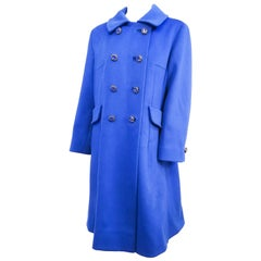 1960s Cobalt Blue Cashmere Wool Coat