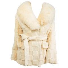 1970s Cream Sweater Knit Wrap Coat w/ Lamb Fur Collar
