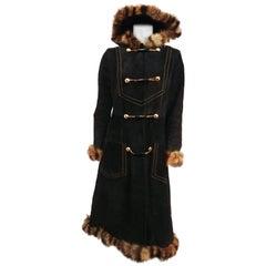 1970s Black Suede Leather Coat w/ Raccoon Trim