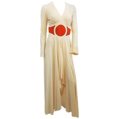 1970s Cream & Orange Mr. Boots Disco Dress