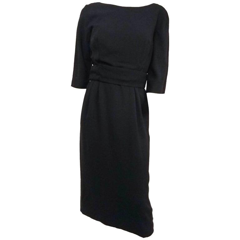 1950s Adele Simpson Black Draped Back Cocktail Dress