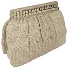 1980's Judith Leiber Karung Convertible Clutch Handbag