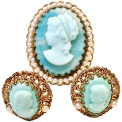 1950'S Germany Gold Filigree Carved Blue Cameo Brooch & Earrings S/3