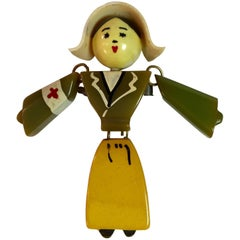 1930s Bakelite Articulated Figural Red Cross Nurse Brooch Pin
