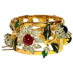 CoroCraft Sterling Carmen Miranda Bracelet with Diamante and Gem Tone Cabochons