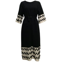 Chanel Black Knit Dress With White And Black Trim At Sleeves And Hem Sz40 (Us 8)