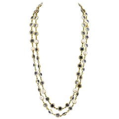 1981 Chanel Clear Cut Crystal and Pearl Sautoir