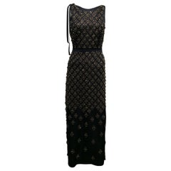 Prada Midnight Blue Jewel Embroidered Satin Gown XS