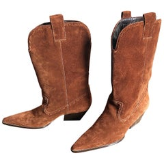 1990s Michael Kors Collection Brand New Size 8 Brown Suede Ankle Cowboy Boots
